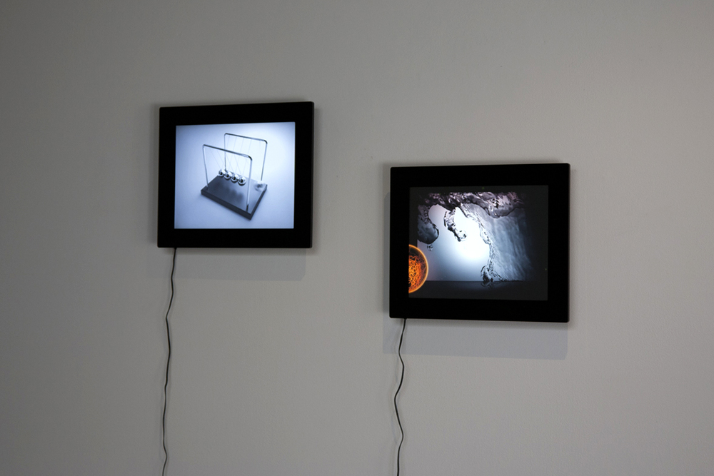 Left: Kim Laughton,  Newton's cradle, 2013, GIF  Right: Hector Llanquín, Hercobulus Paradise, 2012, Digital Slideshow