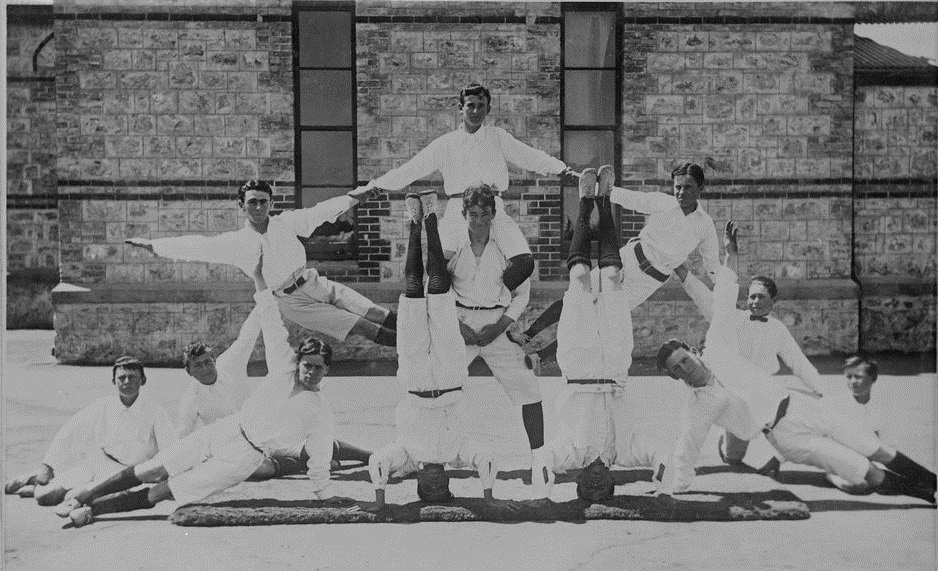 Human arch formed by members of the Ebenezer Gym Club, 1920-1930, State Library of Victoria Collections
