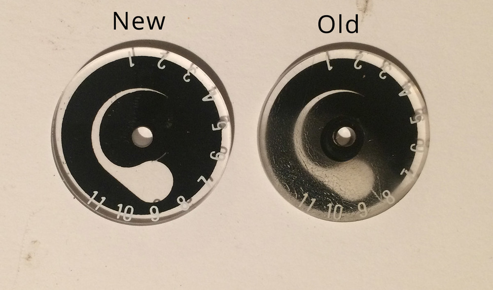 The new and the old aperture dials.