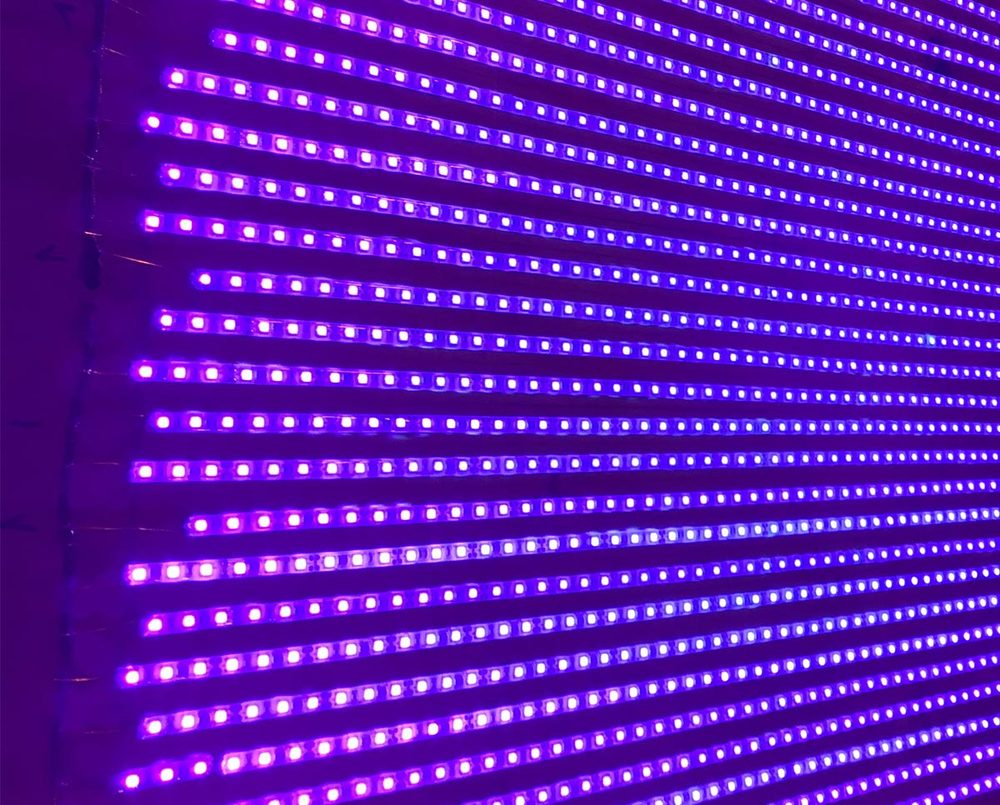 Up close on the UV LED exposure box
