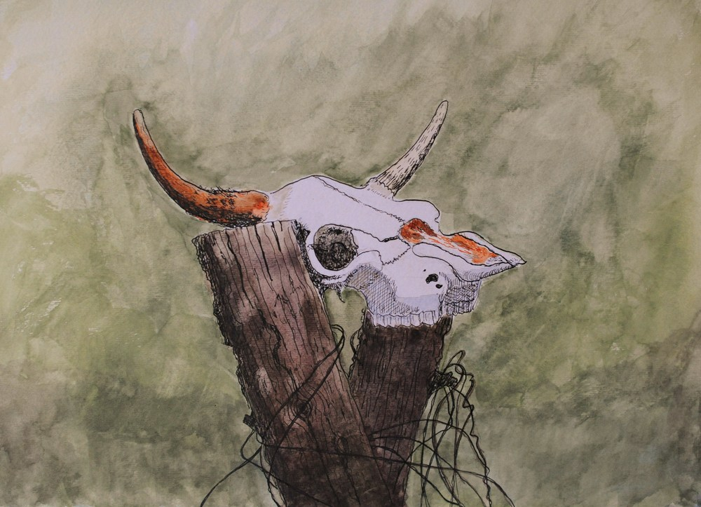 Skull on Post, Castalian Springs, Tn