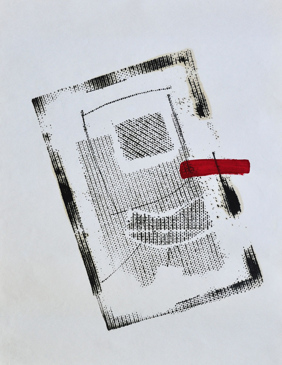 V.F. 1987. 38 x 50. Paper, oil,lacquer.