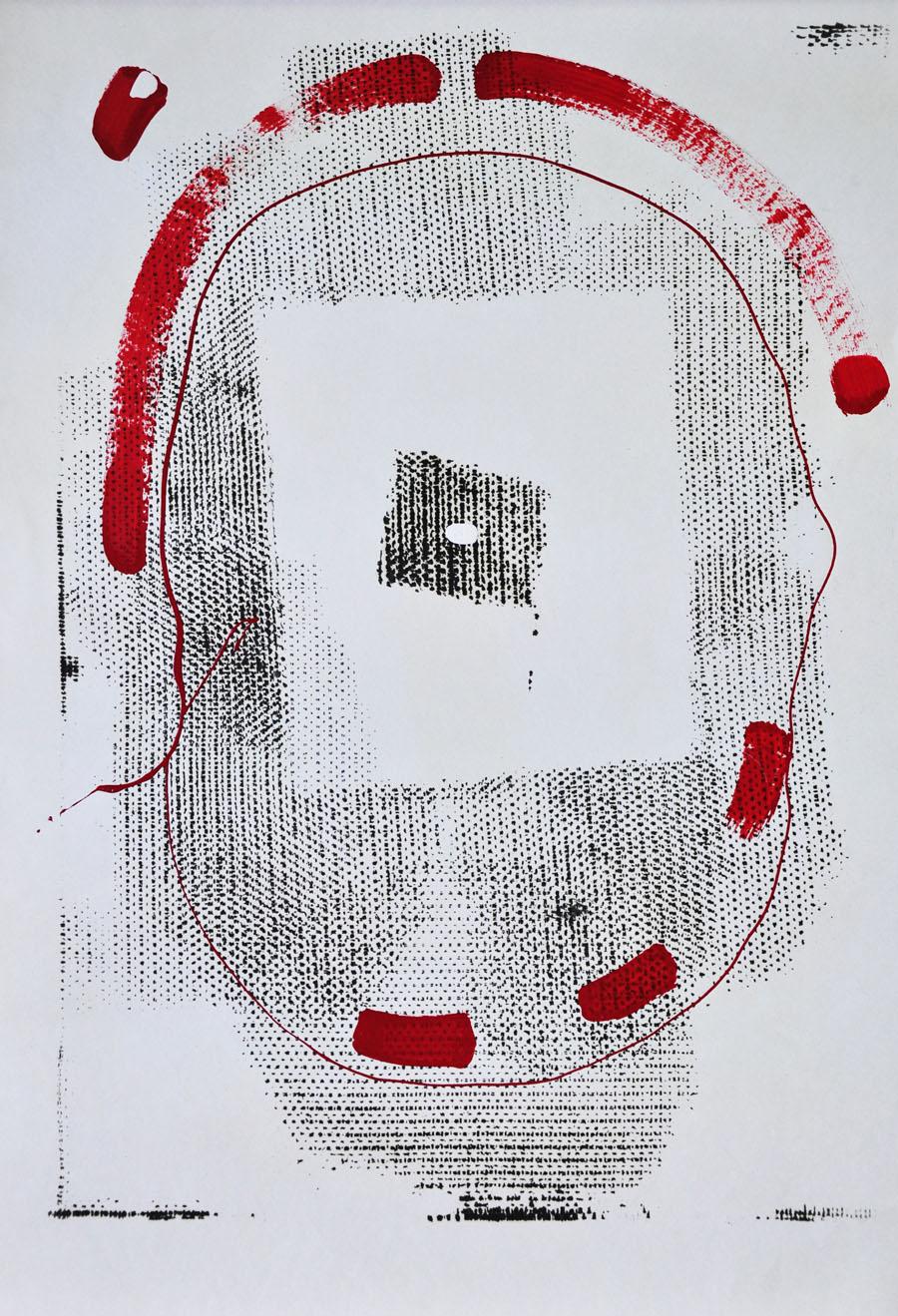 V.F. 1987. 40 x 56. Paper, oil,lacquer.