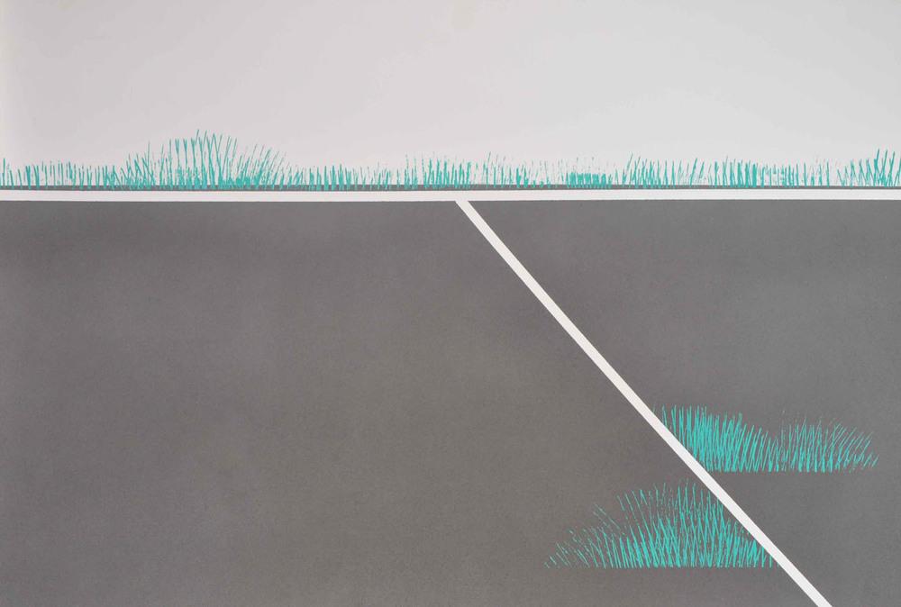 V.F. 1995. 62 x 90. Paper, blacklacquer, oil.