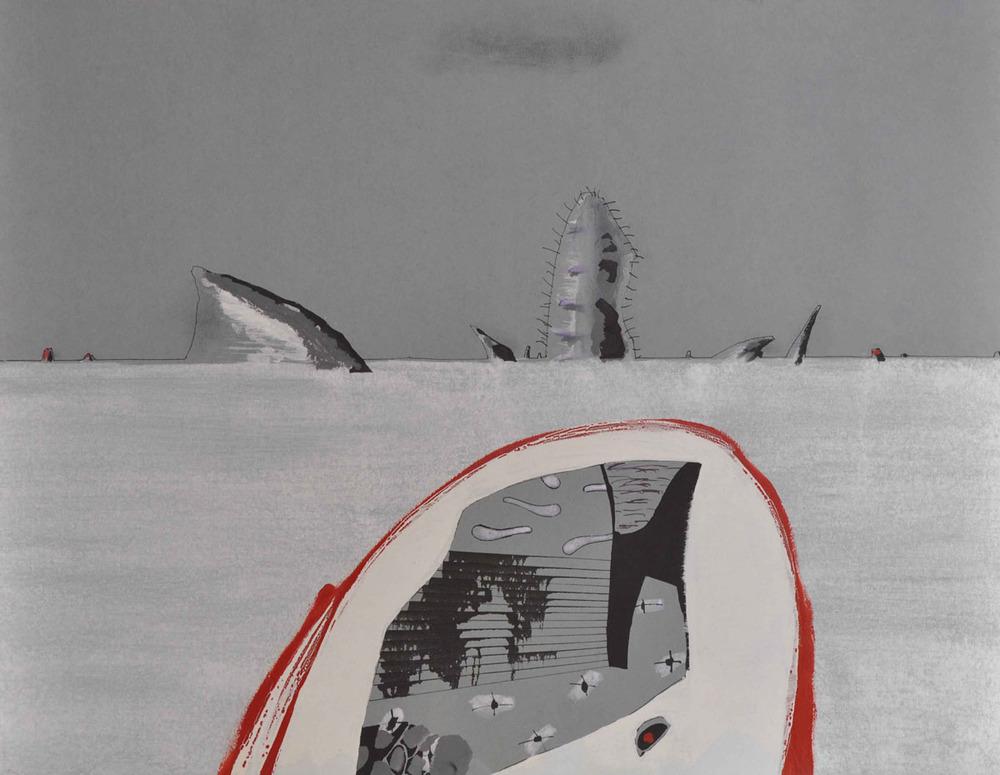 V.F. 1997. 62 x 90. Paper, inc, acrylic, oil.