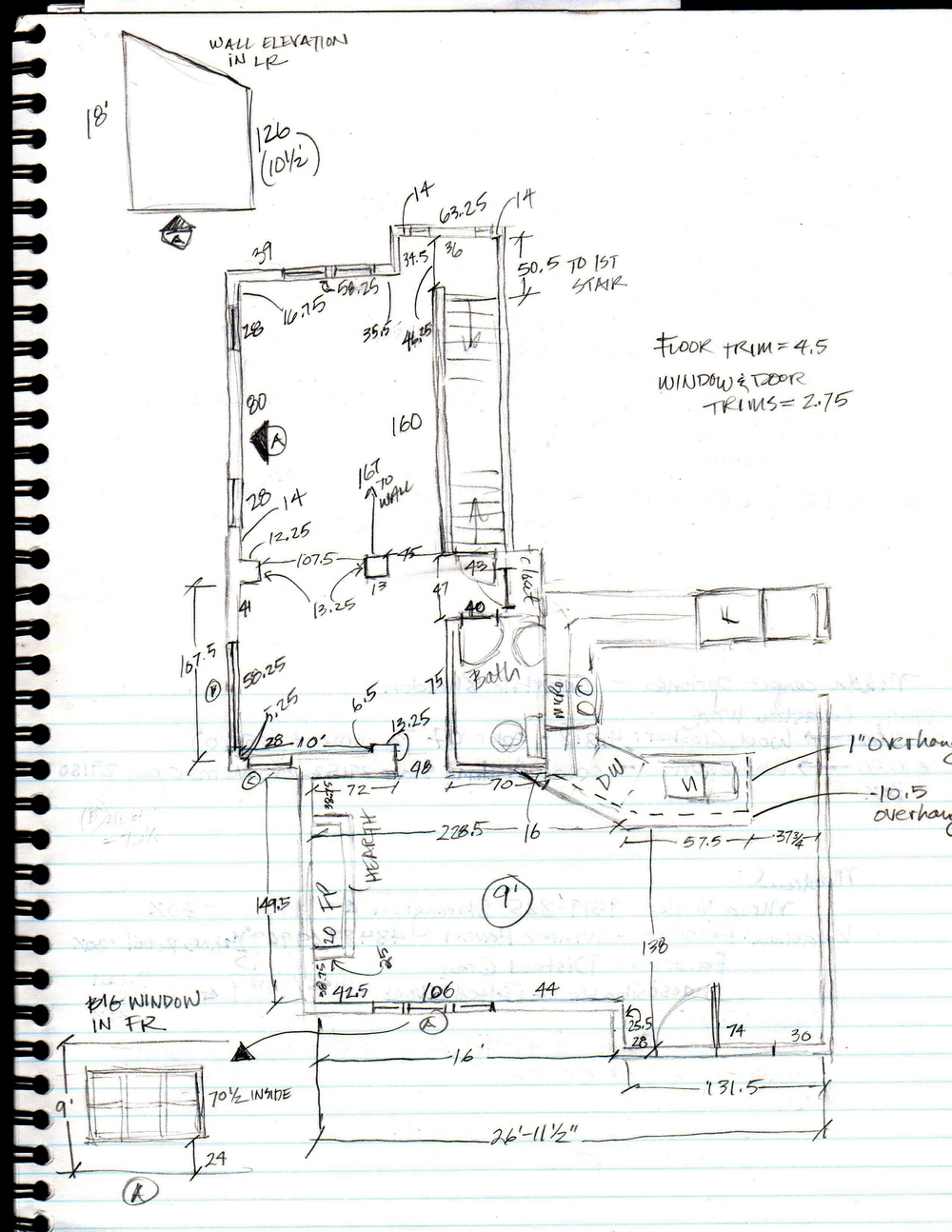 Example of a detailed sketch with measurements.