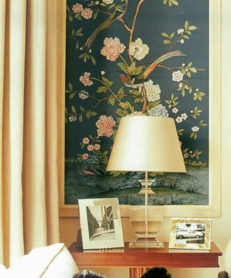 Frame a small piece of wallpaper, such as this  de Gournay  chinoiserie ,  a bit of a budget buster if you put it all over your dining room walls.