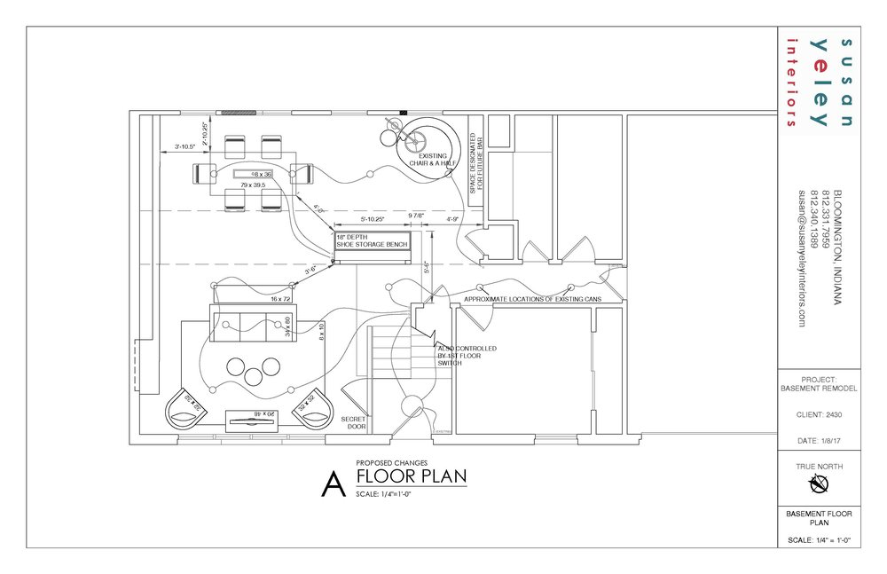 Floor plan with walls knocked down to create an l-shape room