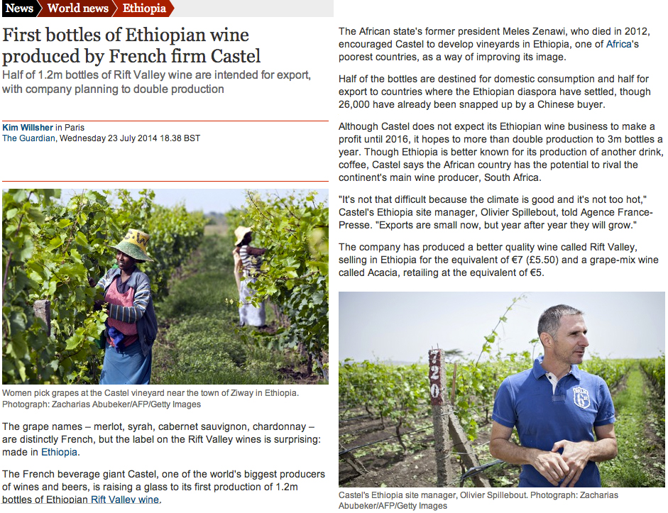 Castel Wine Production in Ethiopia