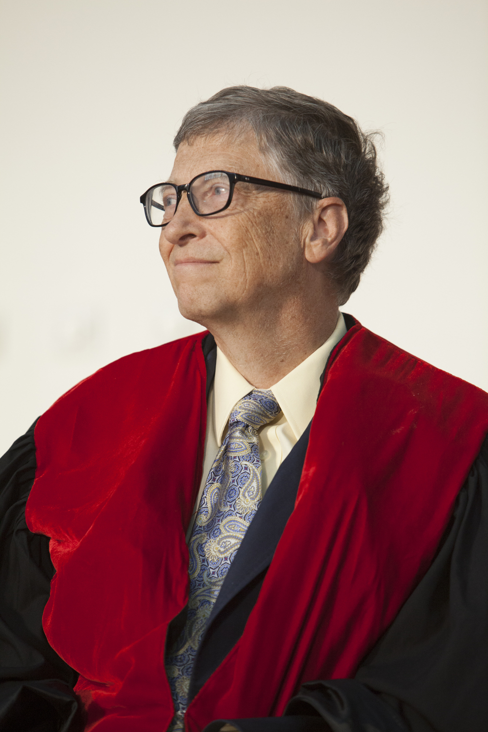 Bill Gates, Co-Chair of Bill and Melinda Gates Foundation is pictured during an Honourary Doctorate Degree ceremony at Addis Ababa University in Addis Ababa Ethiopia on 24 July 2014. Bill Gates was awarded with an honorary doctorate degree from the University after his long-lasting support of development in Ethiopia. AFP PHOTO / ZACHARIAS ABUBEKER