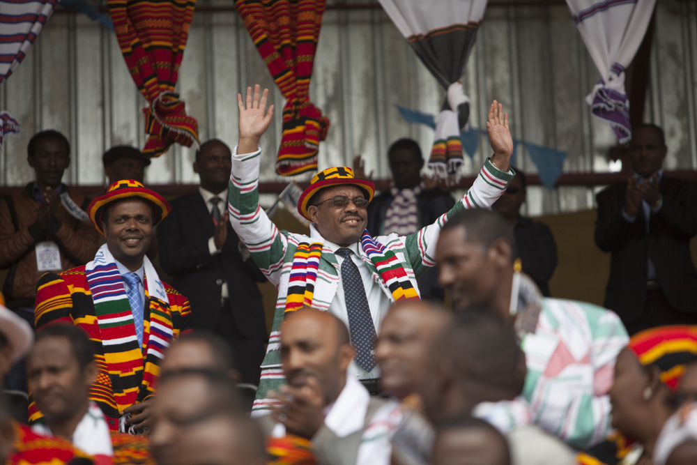 Hailemariam Dessalign is pictured during the 50 year anniversary celebration of the formation of Arba Minch town, part of the Southerm Nation's Nationalities and Peoples region of Ethiopia, on September 6 2014. Arba Minch celebrated it's 50th birthday with a commorative gathering at the town's stadium, as well as an inauguration of a newly constructed roadway.