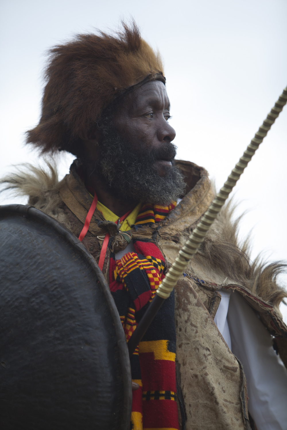 A man is pictured in traditional Dorze clothing during the 50 year anniversary celebration of the formation of Arba Minch town, part of the Southerm Nation's Nationalities and Peoples region of Ethiopia, on September 6 2014. Arba Minch celebrated it's 50th birthday with a commorative gathering at the town's stadium, as well as an inauguration of a newly constructed roadway.