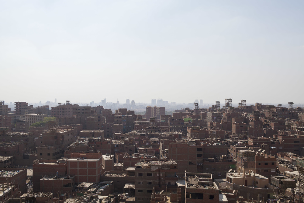 A view of Garbage city, and the eastern part of Cairo in the background.