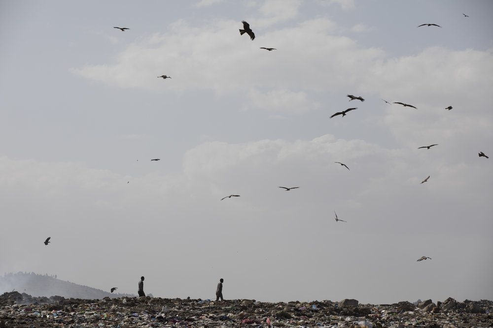 Men are pictured walking on top of the main city landfill of Addis Ababa on 12 March 2017. AFP Photo / Zacharias Abubeker