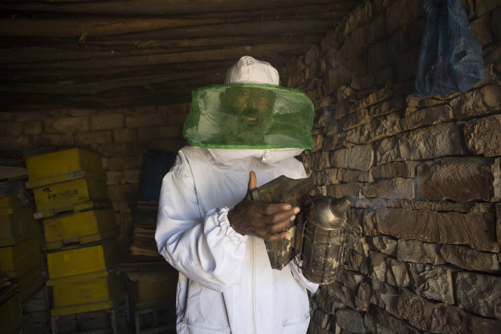 lem Abreha, honey farmer, pictured preparing a beehive smoker on his honey farm outside of Wukro in the Tigray region of northern Ethiopia on 29 March 2017. Abreha has four farms in the locality outside of Wukro, he has had training in different places in Europe and America on the production of honey. AFP Photo / Zacharias Abubeker