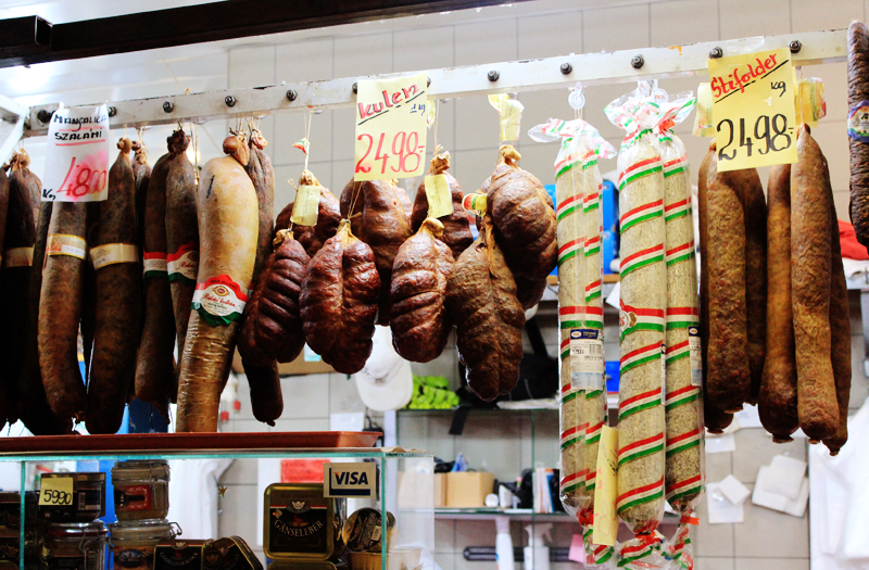 In the Baromfi Hentesaru (butcher shop with delicious cooked sausages take-away)