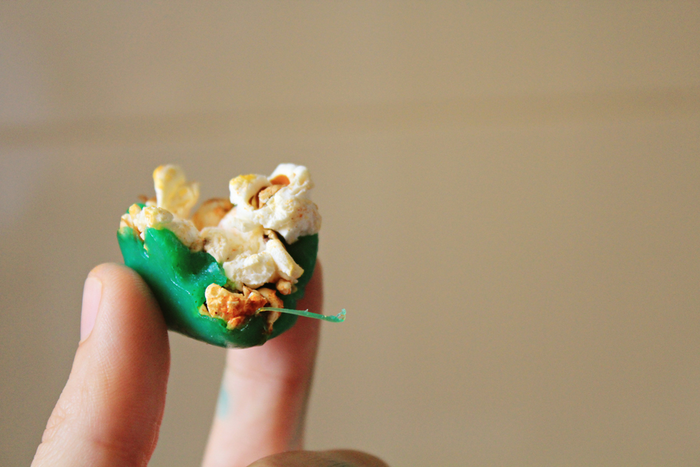 Pic2: popcorn-cheese mouthfuls after refrigerator