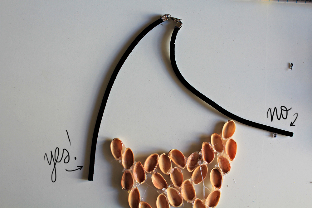 How to make a unique necklace by pistachio shells, the diy 6
