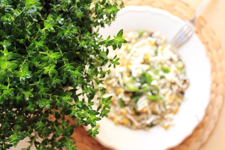 ανοιξιάτικο ριζότο με μανιτάρια, καλαμπόκι, κρεμμυδάκια και κατσικίσιο τυρί 4