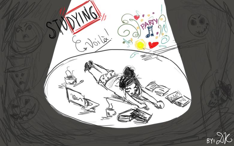 Stu-dying illustration by Debbie Kortes