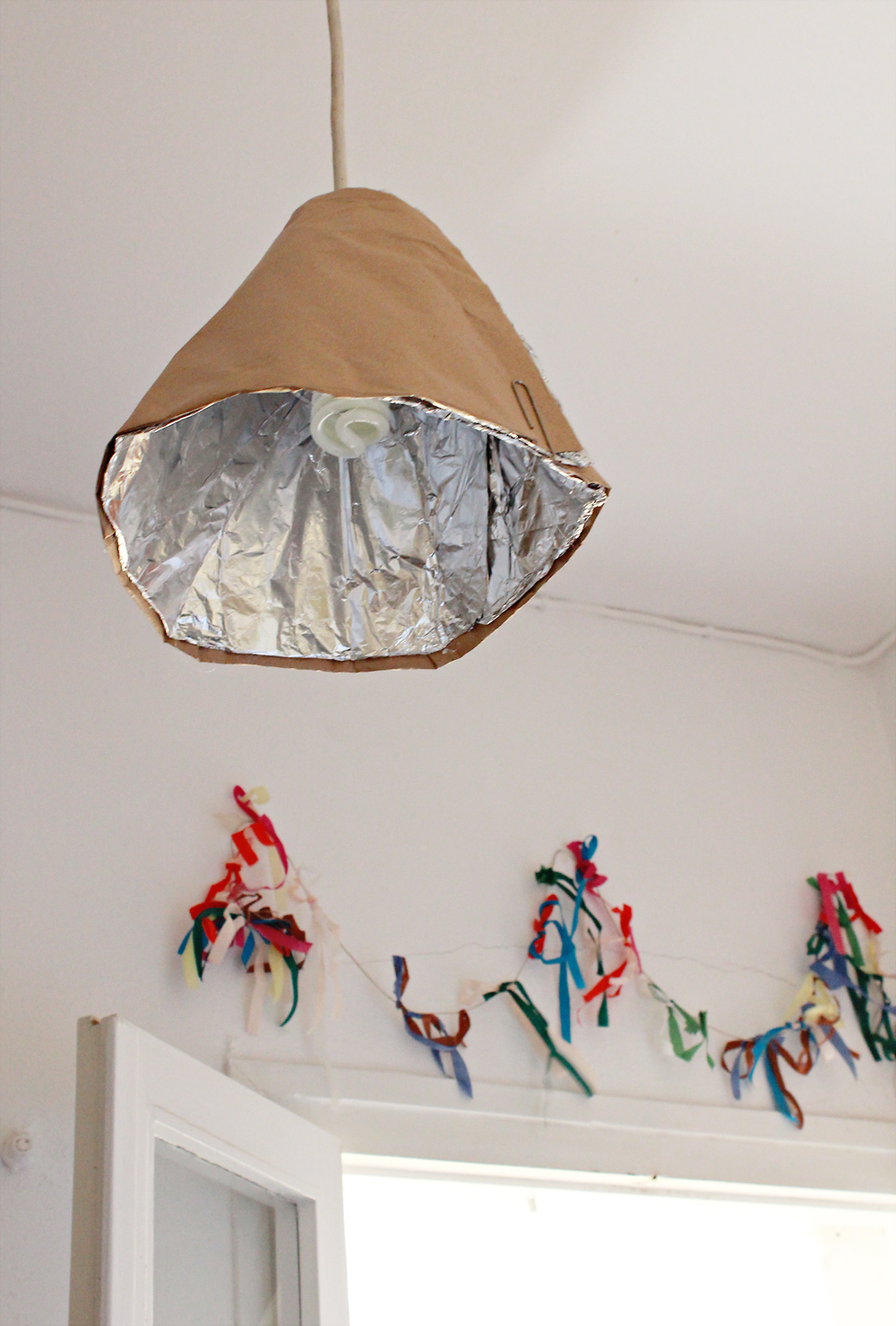 Recycled lamp fixture made from paper towel rolls & aluminum foil 8.jpg