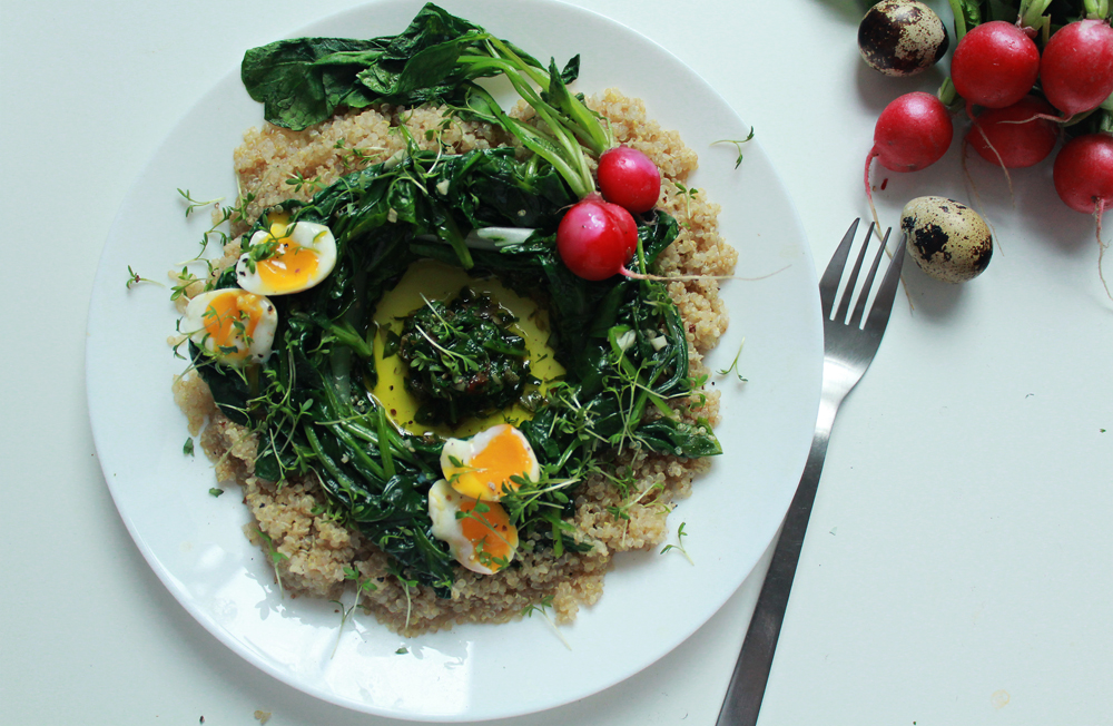 Quinoa & bulgur salad with spinach, chards, radishes, soft-boiled eggs and capper pesto (via inwhirlofinspiration.com) 4