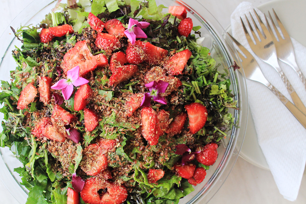 Green salad with strawberries, flaxseed and violet flowers   from IN WHIRL OF INSPIRATION