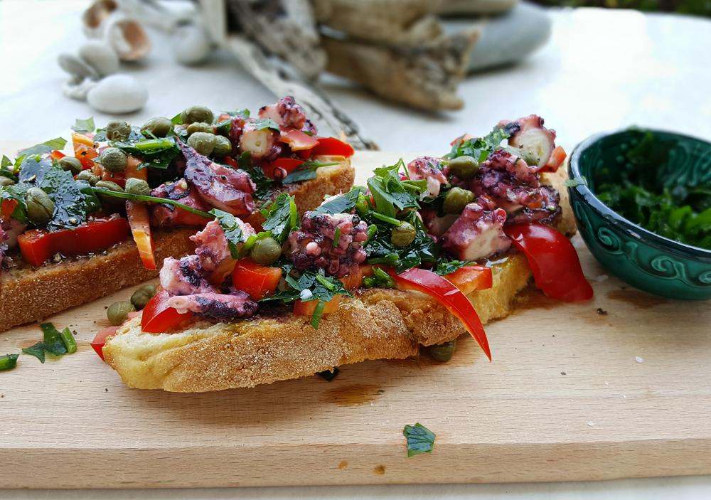 Ceviche octopus sandwich with red bell pepper and caper   by IN WHIRL OF INSPIRATION