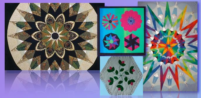 Kaleidoscope quilts, geometric patchwork, circular quilt design