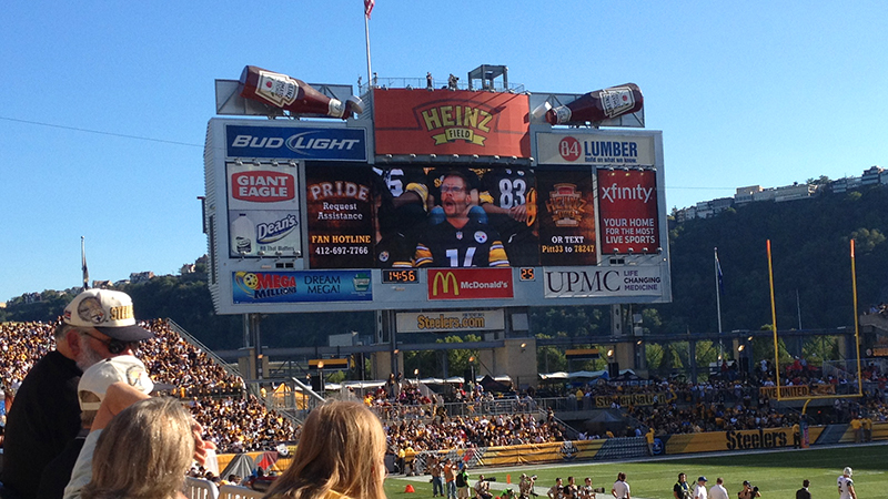 Pittsburgh Dad on the Heinz Field jumbotron during the Steelers 2012 season.