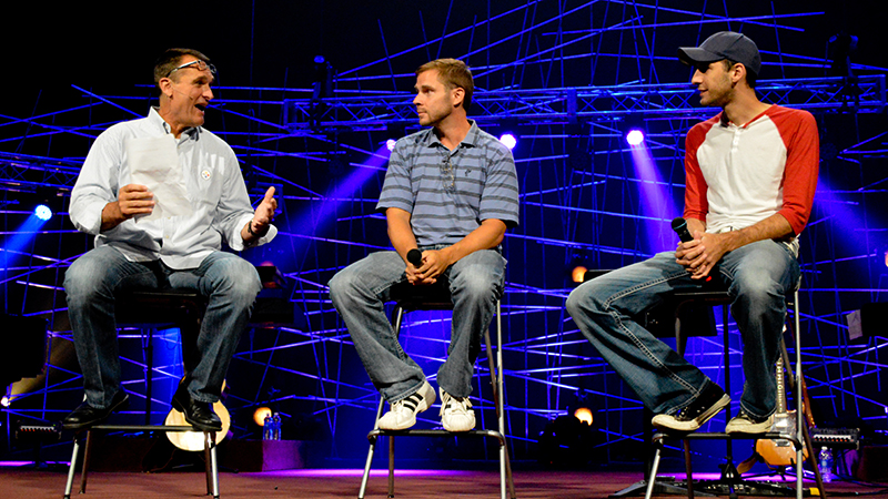 Curt & Chris appear on stage with Tunch Ilkin at Coach Tomlin's Man Up Conference.