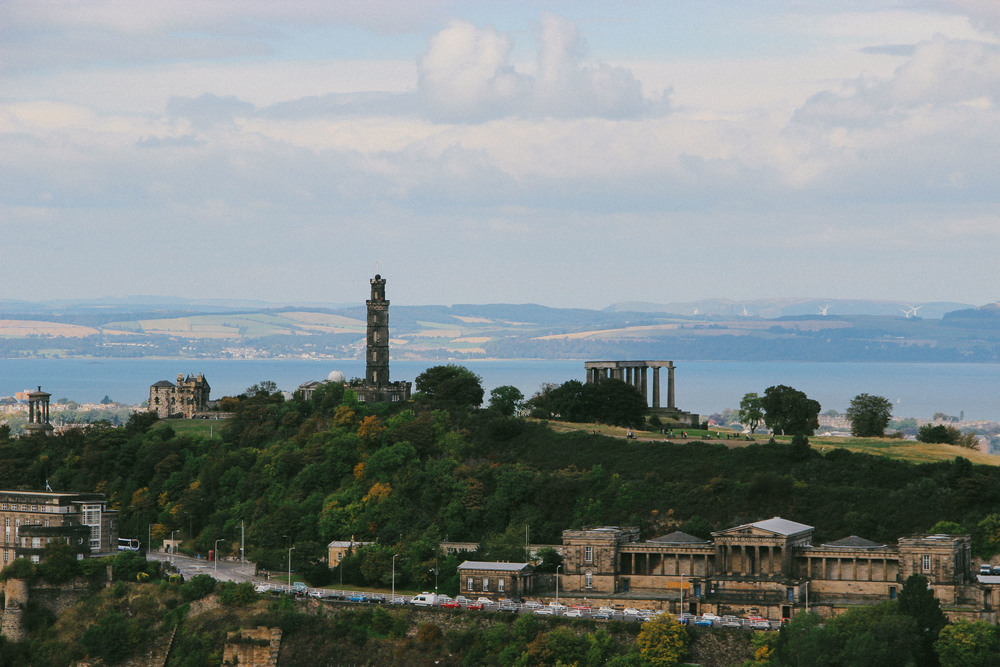 View of Calton Hill from the small hill.