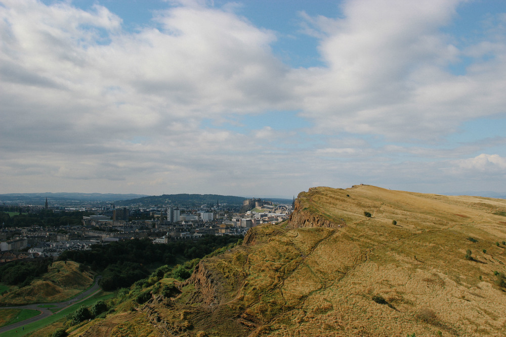 View of Sailsbury Crags and Edinburgh.