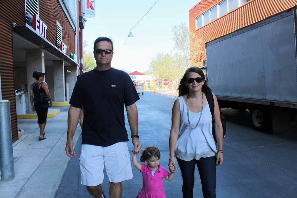 My dad and Gracie and I walking to the Pearl's Farmer's Market in San Antonio.