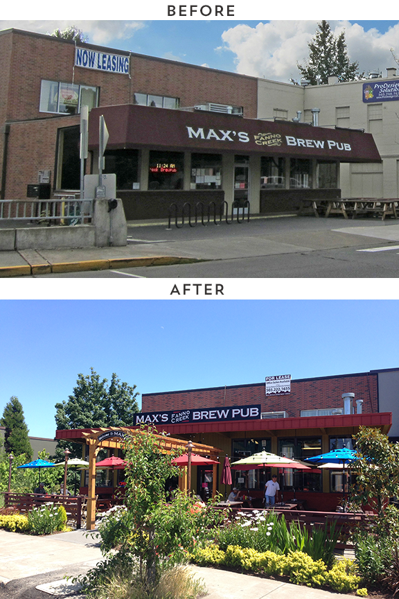 Max's Fanno Creek Brew Pub in Tigard.  The introduction of the colorful seating area to the front of the recessed building completely changes the feel. These are the building by building and business by business changes the PDC is hoping to inspire on Lombard.