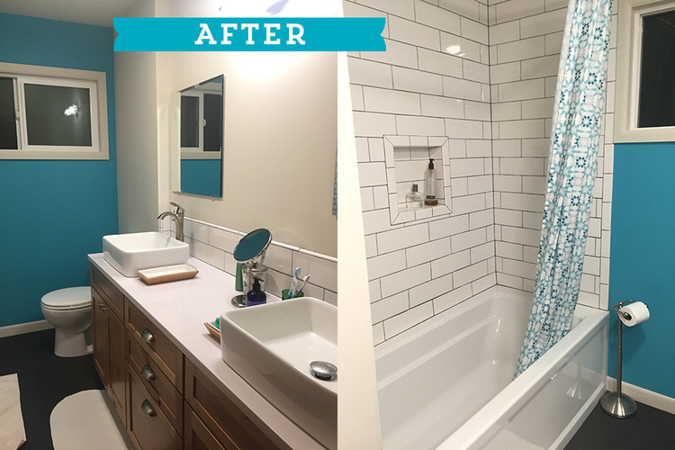 first time homebuyer corinne showed her marvelous taste through this major remodel of her 1950s bathroom imagine an old mint green bathtub before after - 1950s Bathroom Remodel Before And After