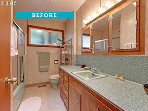 first time homebuyer corinne showed her marvelous taste through this major remodel of her 1950s bathroom imagine an old mint green bathtub