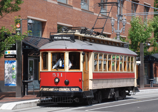Well Preserved Trolley in Downtown Portland