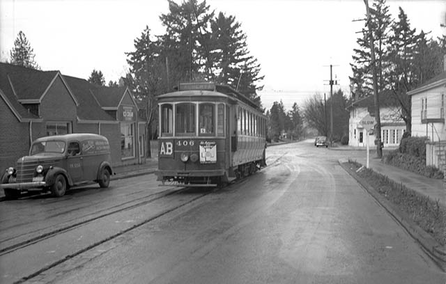 1944 Vintage PDX Streetcar Along the Alberta Line