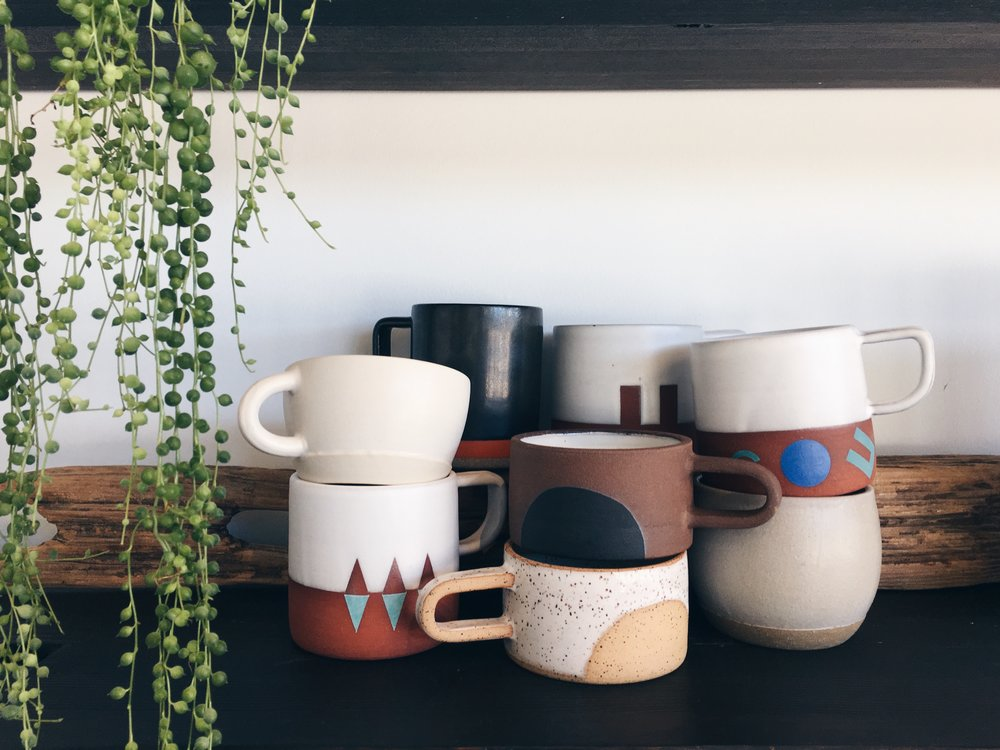 Handled mug options by  Beanpole Pottery  (Portland),  Wolf Ceramics  (Portland),  Pawena  (Los Angeles),  Mimi Ceramics  (Portland).