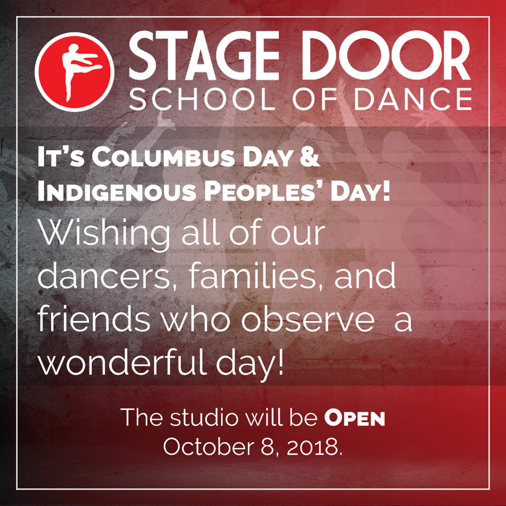 Stage Door - Days of Obersrvance - Columbus and Indigenous Peoples Day 2018.png