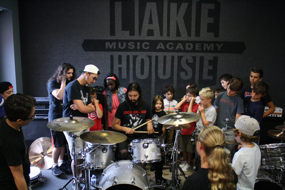 Jay Weinberg demonstrating drum techniques during our Best Drum Week Ever! Camp. Summer 2017