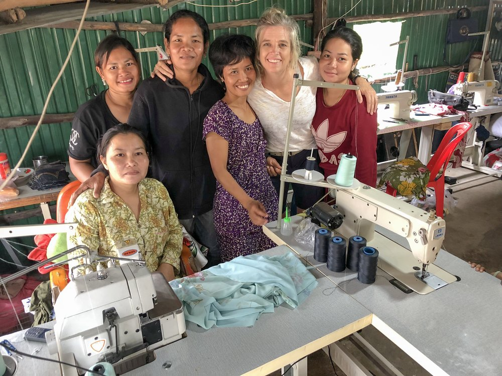 Director Karla stands with the latest artisans,  excited to meet in the newest location of Landmine Design  in Poipet, Cambodia.