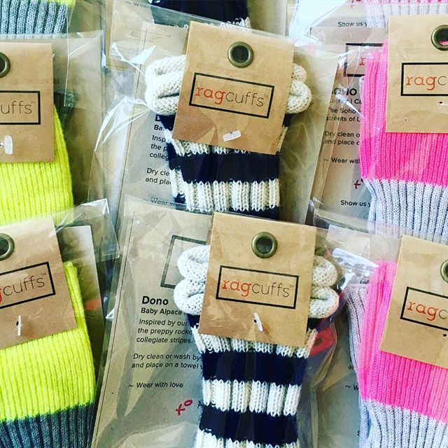 packing them up for our new partnership #RagCuffs #stripes #excitingtimesahead #neon #cashmere #cotton #blueandwhite #pulsepoint #layers #gratitude #partnership #foryourwrist