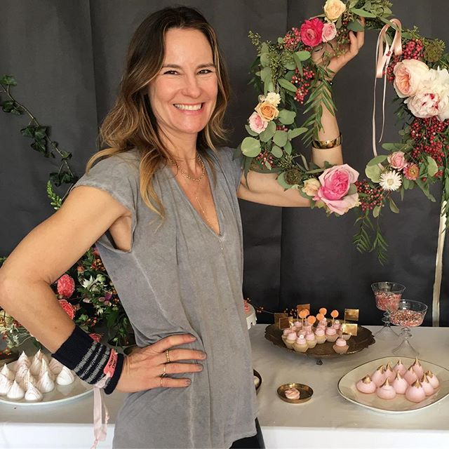 We love our friend @wendyselwyn sporting #ragcuffs while making a pretty wreath! She wears them well. #dono #itsgettingcold #finally