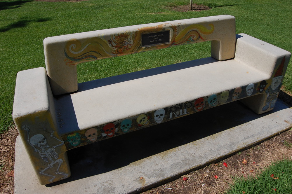 Likely the coolest park bench in Huntington Beach  (Photo by Lauren Lloyd)