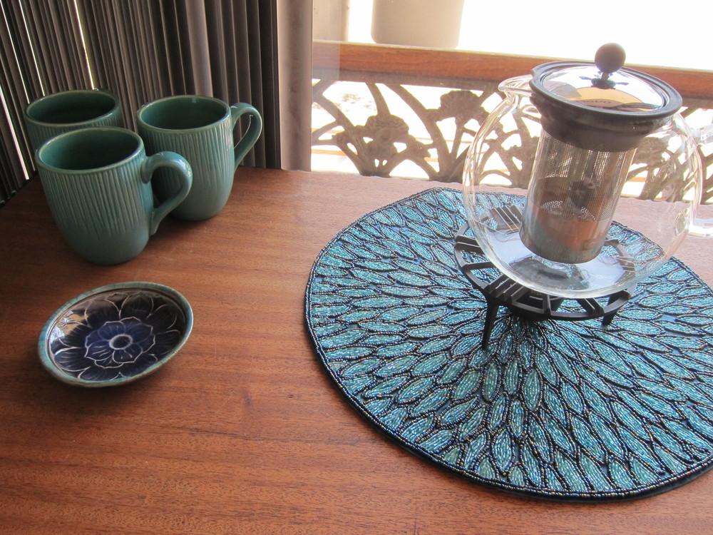 The tea station, a work-in-progress (Photo by Lauren Lloyd)
