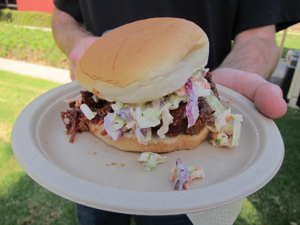 Brew Hawg BBQ 's intense pulled pork sandwich with peanut slaw  (Photo by Lauren Lloyd)