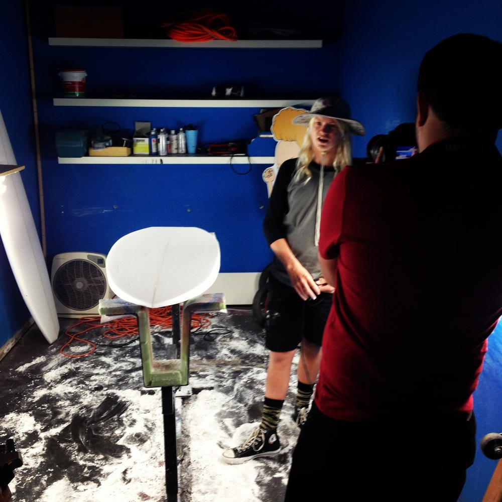 Main & PCH video shoot inside Kid Creature's shaping bay at Instapparel (Photo by Jeremy Reed)