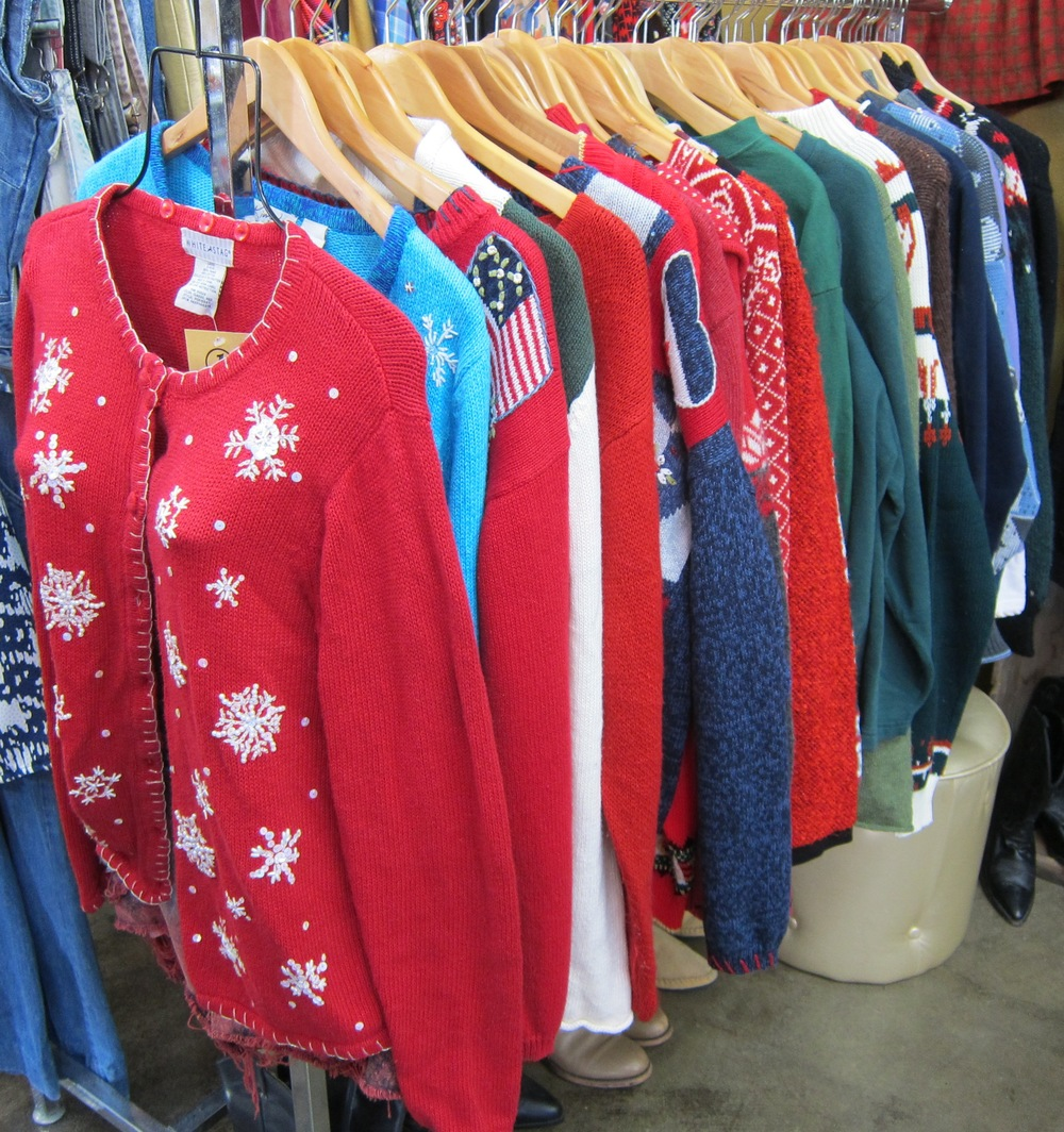 The ugly Christmas sweater collection at 1 Look Vintage  (Photo by Lauren Lloyd)